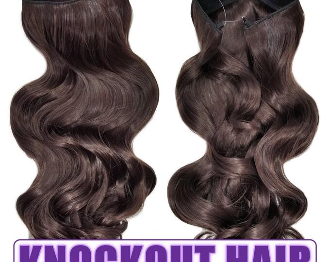 "Fits like a Halo Hair Extensions 20"" - 150 Grams 100% Premium Fiber Wavy Hair (Medium Brown #06)"