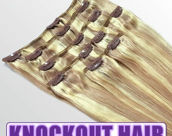 "Clip In Human Hair Extensions 18"" - 120 Grams Full Head Remy Premium Grade AAAAA Double Wefted (Dark Blonde/Light Blonde P#7B/613)"