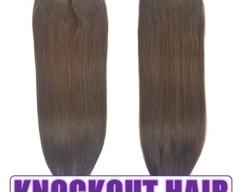 """Fits like a Halo Hair Extensions 20"""" Medium Ash Brown (#5A) - Human No Clip In Flip In Couture by Knockout Hair"""