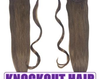 "Human Hair Ponytail Extension Wrap 20"" 80 Grams Remy Premium Grade AAAAA 100% Real Straight Hair Silky Soft (Medium Ash Brown #5A)"
