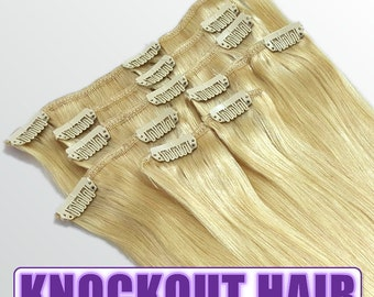 """Clip In Human Hair Extensions 18"""" - 120 Grams Full Head Remy Premium Grade AAAAA Double Wefted (Light Blonde #613)"""