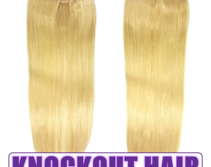 """Fits like a Halo Hair Extensions 20"""" Golden Ash Blonde (#24) - Human No Clip In Flip In Couture by Knockout Hair"""