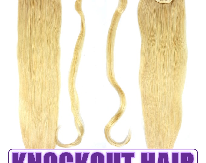 """Human Hair Ponytail Extension Wrap 20"""" 80 Grams Remy Premium Grade AAAAA 100% Real Straight Hair Silky Soft (Light Ash Blonde #24)"""