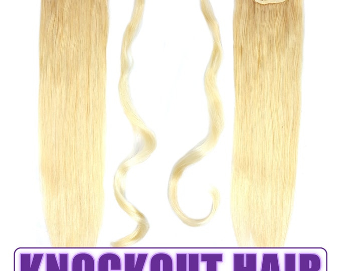 """Human Hair Ponytail Extension Wrap 20"""" 80 Grams Remy Premium Grade AAAAA 100% Real Straight Hair Silky Soft (Light Blonde #613)"""