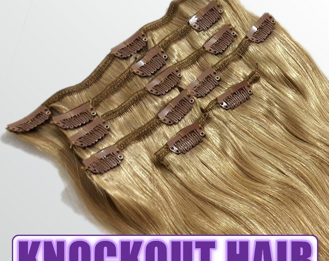 """Clip In Human Hair Extensions 18"""" - 120 Grams Full Head Remy Premium Grade AAAAA Double Wefted (Dark Blonde #7B)"""