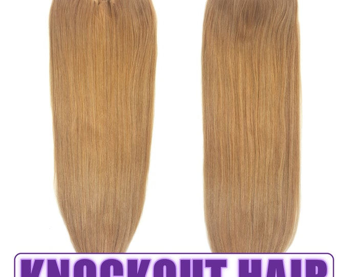 """Fits like a Halo Hair Extensions 20"""" Dark Blonde (#7B) - Human No Clip In Flip In Couture by Knockout Hair"""