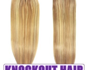 """Fits like a Halo Hair Extensions 20"""" Dark Blonde/Light Blonde (P#7B/#613) - Human No Clip In Flip In Couture by Knockout Hair"""