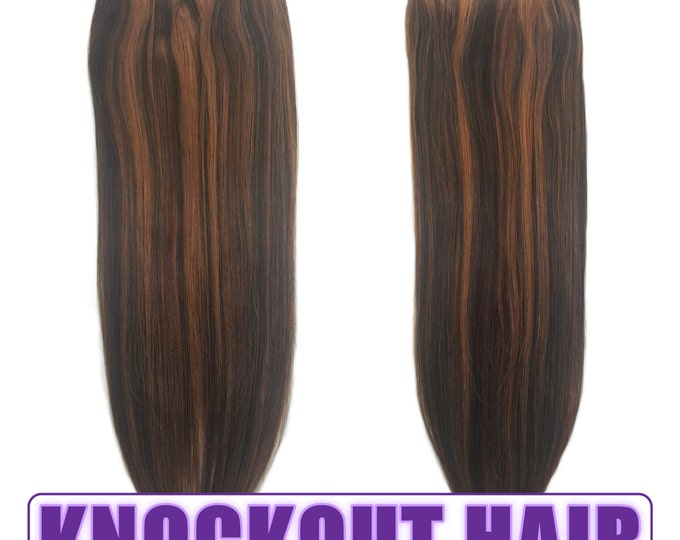"""Fits like a Halo Hair Extensions 20"""" Dark Brown/Light Warm Brown (#2/#6) - Human No Clip In Flip In Couture by Knockout Hair"""