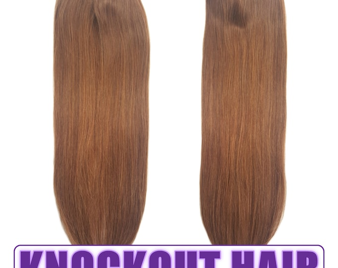 """Fits like a Halo Hair Extensions 20"""" Light Warm Brown (#6) - Human No Clip In Flip In Couture by Knockout Hair"""