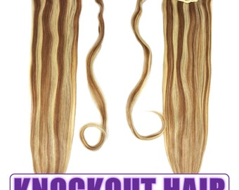 """Human Hair Ponytail Extension Wrap 20"""" 80 Grams Remy Premium Grade AAAAA 100% Real Straight Silky (Light Natural Brown/Ash Blonde P#7A/24)"""