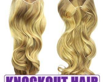 "Fits like a Halo Hair Extensions 20"" - 150 Grams 100% Premium Fiber Wavy Hair  (Medium Cool Blonde/Light Blonde Mix - P#16/86)"
