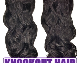 "Fits like a Halo Hair Extensions 20"" - 150 Grams 100% Premium Fiber Wavy Hair (Natural Black #02)"