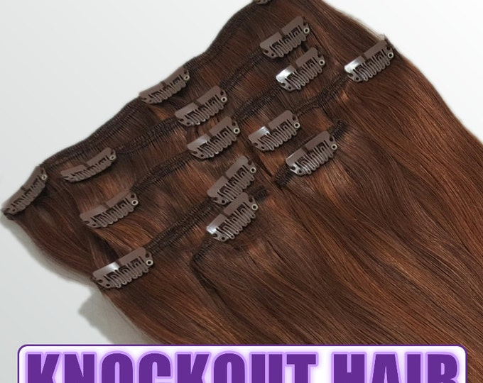 """Clip In Human Hair Extensions 18"""" - 120 Grams Full Head Remy Premium Grade AAAAA Double Wefted (Dark Auburn Mix P#33/34)"""
