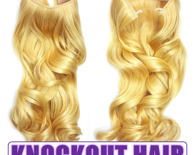 "Fits like a Halo Hair Extensions 20"" - 150 Grams 100% Premium Fiber Wavy Hair (Light Blonde - #86)"