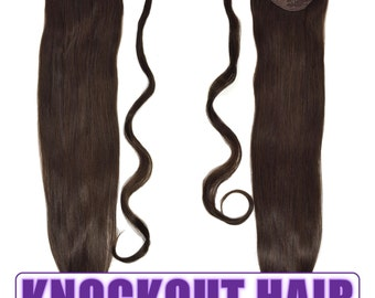 "Human Hair Ponytail Extension Wrap 20"" 80 Grams Remy Premium Grade AAAAA 100% Real Straight Hair Silky Soft (Dark Brown #2)"
