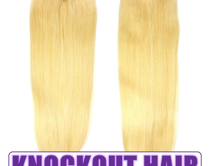 """Fits like a Halo Hair Extensions 20"""" Lightest Blonde (#60) - Human No Clip In Flip In Couture by Knockout Hair"""