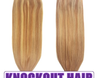 """Fits like a Halo Hair Extensions 20"""" Dark Warm Blonde/Honey Blonde (P#8/#22) - Human No Clip In Flip In Couture by Knockout Hair"""