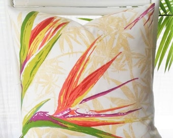 Richloom Bird of Paradise Tropical Exotic Floral Caribbean Island Outdoor Pillow Cover