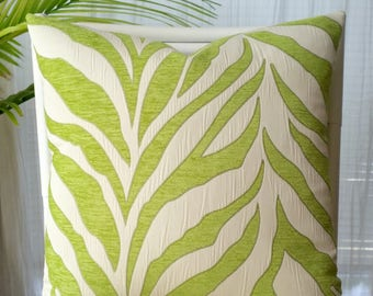 Almost sold out - Large Scale Zebra Stripe Lime Green Chenille Ivory Beige Woven Pillow Cover
