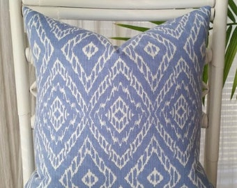 Robert Allen Ikat Strie Diamond Geometric Global Blue Pillow Cover