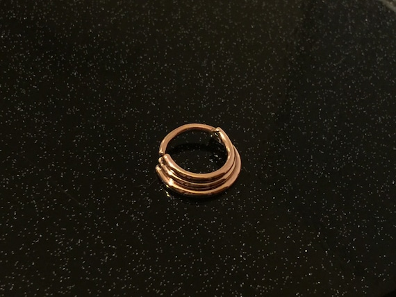 Not a Clicker Double Septum Ring 16G 14k Solid Yellow Gold 8mm Diameter Seam Ring
