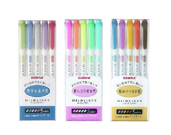 Zebra Mildliner Marker pen 15 Color Set WKT7-5C, WKT7-5C-NC, WKT7-5C-RC Free Shipping from Japan