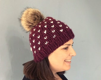 de65cc718c2cf Fair isle little heart hat with faux fur pom pom