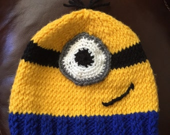 4d243ddb Minion hat; stuart minion; kevin or bob minion; one eye; two eye; despicable  me; infant, children or adult