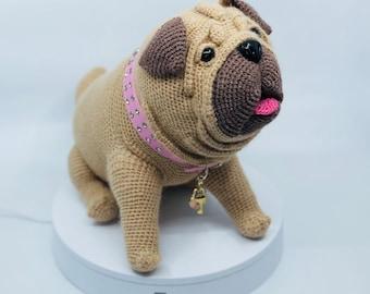 Lifelike Pug dog crochet pattern PDF. English USA