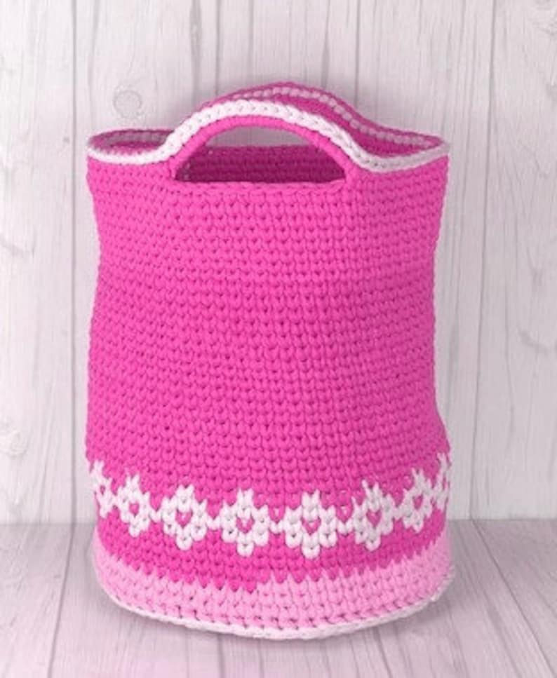 crochet patter Crocheted round Basket Laundry Basket crochet pattern Basket crochet pattern