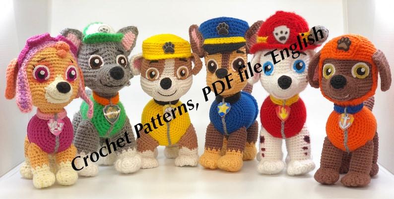 Paw Patrol Crochet Patterns For 8 Pups Chase Zuma Rocky Rubble Skye Marshall Everest Tracker English Pdf Format Crochet Dog