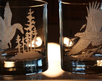 sandblasted duck and eagle design on whiskey glasses.