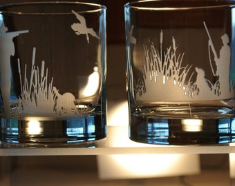 duck hunter on whiskey glass or pheasant hunter on whiskey glass sold separately