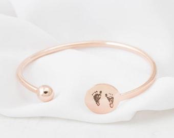 Adjustable Custom Baby Footprint Bracelet - Baby Handprint Cuff - Fingerprint Bracelet - Keepsake Jewelry - Mother Gift - New Mom Gift