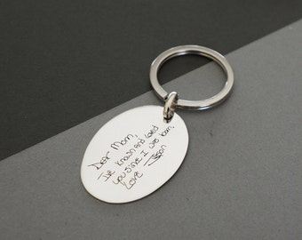 Actual Fingerprint KEYCHAIN - Handwriting Keychain - Fingerprint Disc Charm - Personalized Memorial Gifts - Gift for Her - MOTHERS GIFT