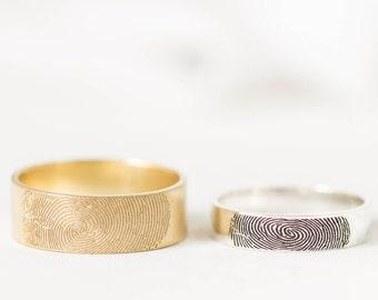 Fingerprint Band - Couples Fingerprint Rings - Personalized Fingerprint Jewelry - Wedding Band - Personalized Gift - Wedding Gift
