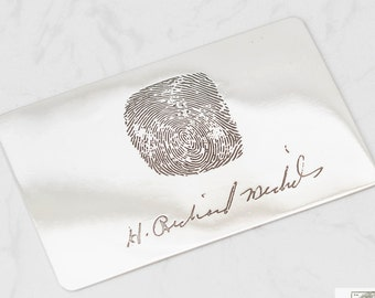 Fingerprint Handwriting Wallet Insert - Engraved Wallet Card - Signature Fingerprint Insert Card - Gift for Him - FATHERS DAY GIFT