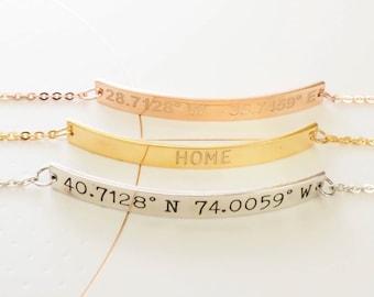 Skinny Personalized Bar Bracelet - Coordinates Bar Bracelet - Custom Coordinates Jewelry - Dainty Friendship Bracelet - Gifts for Her -