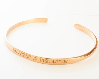 Personalized Adjustable Coordinates Bangle - Custom Coordinates Bracelet - Skinny Coordinates Band - Dainty Message Band - Bridesmaids Gifts