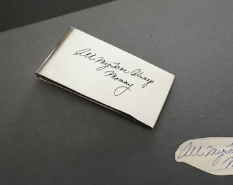 Memorial Signature Money Clip - Handwriting Money Clip - Keepsake MoneyClip in Sterling Silver - Father's Gift - Groomsmen Gift