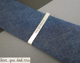 Memorial Signature Tie Clip Bar - Handwriting Tie Bar - Keepsake Tie Clip in Sterling Silver - Father's Gift - Groomsmen Gift