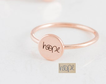 Handwriting Disc Ring - Geometric Ring - Personalized Disc Ring - Minimalist Ring- Personalized Gift - Dainty Disc Ring - Stocking Stuffer