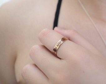 Skinny Roman Number Ring - Dainty Coordinates Ring - Latitude Longitude Ring - Location Ring - Stackable Number Band Ring