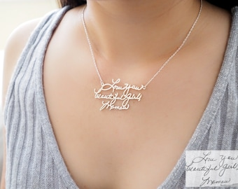 Actual Handwriting Necklace - Signature Necklace -  Memorial Necklace - Personalized Jewelry - Memorial Gift - Gift For Mom