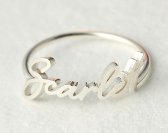 Dainty Name Ring - Custom Name Ring - Stackable Name Ring - Personalized Name Jewelry in Sterling Silver - Bridesmaids Gift - Gift For Her