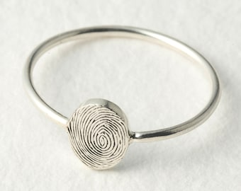 Actual Fingerprint Ring - Dainty Fingerprint Ring - Memorial Fingerprint Jewelry in Sterling Silver - Meaningful Christmas Gifts for Her