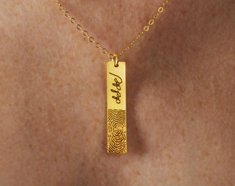 Fingerprint Necklace - Actual Handwriting & Fingerprint Jewelry - Signature Necklace - Engraved Vertical Bar Charm - Meaningful Gift for Her