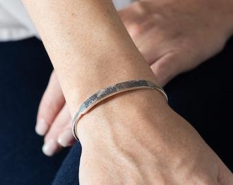 Actual Fingerprint Cuff - Custom Fingerprint Bracelet - Personalized Memorial Jewelry in Sterling Silver - Meaningful Gift for Her