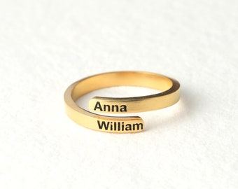 Personalized Name Ring - Custom Hug Wrap Ring - Dainty Name Jewelry in Sterling Silver - Children's Names Ring - Custom Gift for New Mom