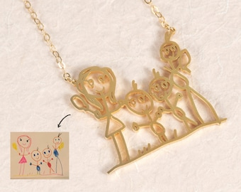Actual Kids Artwork Necklace - Children's Drawing Necklace - Personalized Jewelry in Sterling Silver - Meaningful Christmas Gift for Grandma